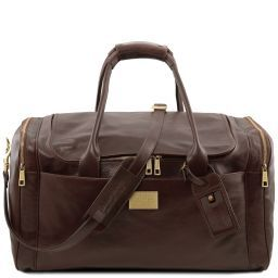 TL Voyager Travel leather bag with side pockets - Large size Dark Brown TL141281