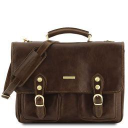 Modena Leather briefcase 2 compartments Dark Brown TL141134