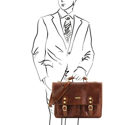 Modena Leather briefcase 2 compartments Brown TL141134