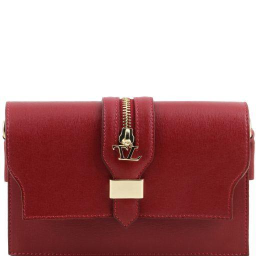 TL Bag Pochette in pelle Saffiano con tracolla sganciabile Rosso TL141317