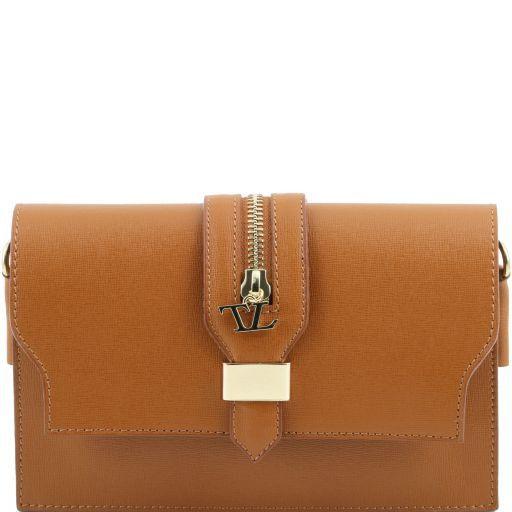 TL Bag Pochette in pelle Saffiano con tracolla sganciabile Cognac TL141317