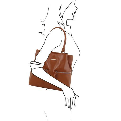 TL Bag Leather shoulder bag with front pockets Cinnamon TL141722