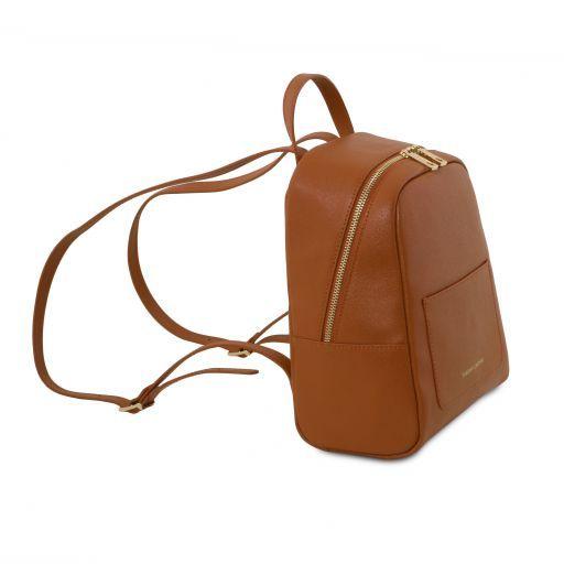 TL Bag Petite sac à dos en cuir Saffiano pour femme Cognac TL141701