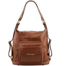TL Bag Borsa donna in pelle convertibile a zaino Cannella TL141535