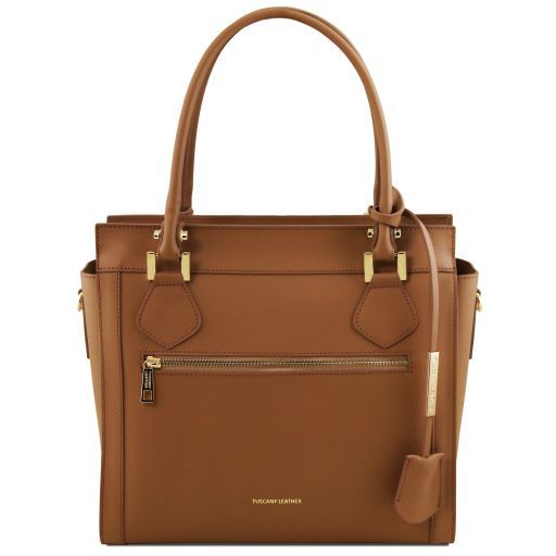 Lara Leather handbag with front zip Cognac TL141644
