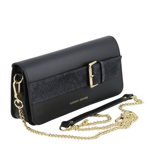 Demetra Leather clutch with chain strap Dark Blue TL141814