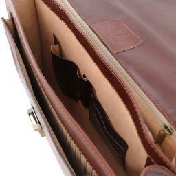 Napoli Cartella in pelle 2 scomparti e tasca frontale Testa di Moro TL141348