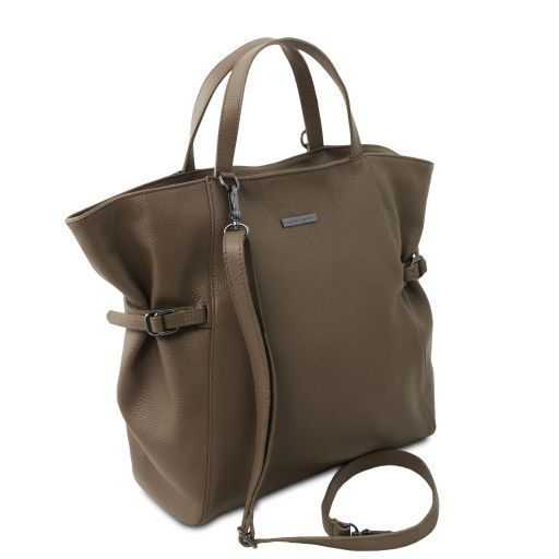 TL Bag Soft leather shopping bag Dark Taupe TL141883