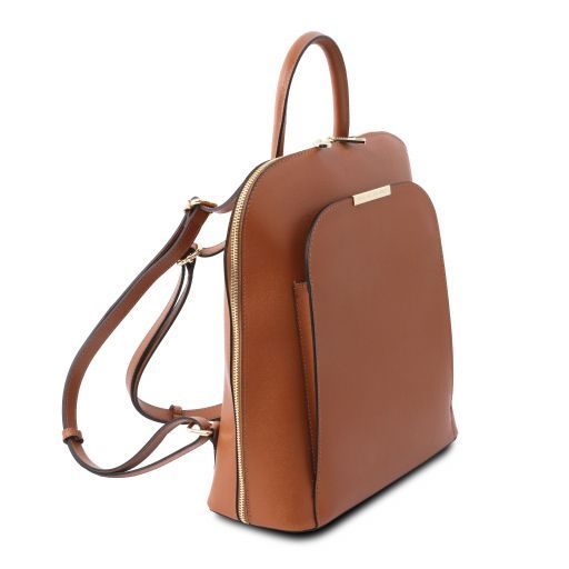 TL Bag Damenrucksack aus Saffiano Leder Cognac TL141631