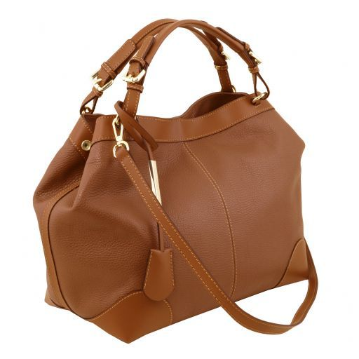 Ambrosia Soft leather shopping bag with shoulder strap Cognac TL141516
