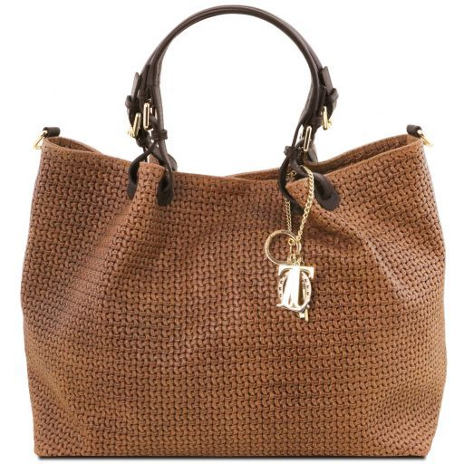 TL KeyLuck Woven printed leather TL SMART shopping bag - Large size Cinnamon TL141568