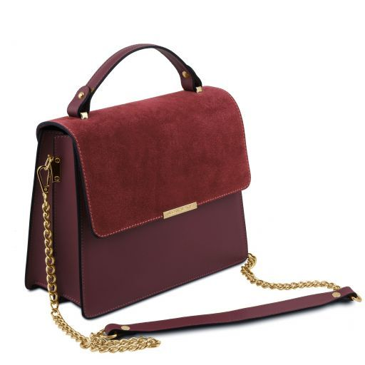 Irene Leather handbag with chain strap Bordeaux TL141745