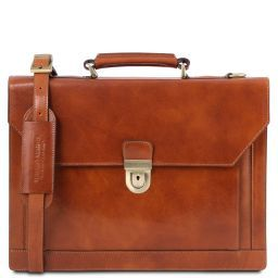 Cremona Leather briefcase 3 compartments Honey TL141732