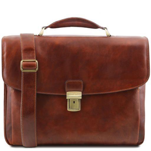 Alessandria Leather multi compartment TL SMART laptop briefcase Brown TL141448