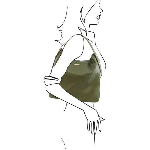 TL Bag Sac hobo en cuir souple Vert Olive TL141884