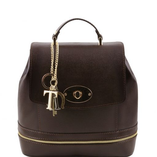 TL KEYLUCK Saffiano leather convertible bag Dark Brown TL141360