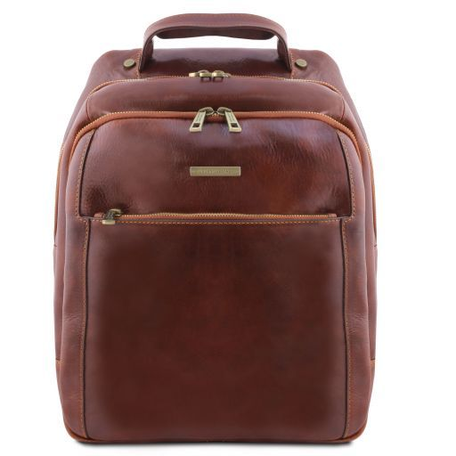 Phuket 3 Compartments leather laptop backpack Brown TL141402
