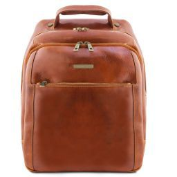 Phuket 3 Compartments leather laptop backpack Honey TL141402