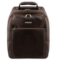 Phuket 3 Compartments leather laptop backpack Темно-коричневый TL141402