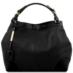 Ambrosia Soft leather shopping bag with shoulder strap Black TL141516