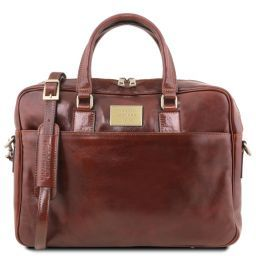 Urbino Leather laptop briefcase 2 compartments with front pocket Brown TL141894