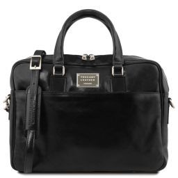 Urbino Leather laptop briefcase 2 compartments with front pocket Black TL141894