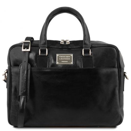 Urbino Notebook-Aktentasche aus Leder 2 Fächer mit Vorderfach Schwarz TL141894