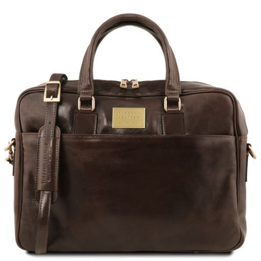 Urbino Leather laptop briefcase 2 compartments with front pocket Dark Brown TL141894