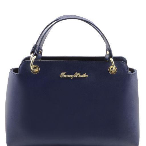 TL Bag Borsa a mano in pelle Saffiano con due manici Blu scuro TL141367