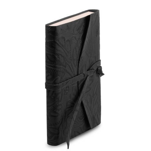 Leather travel diary with floral pattern Black TL141672