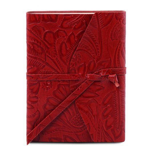 Diario di viaggio in pelle stampa floreale Rosso TL141672