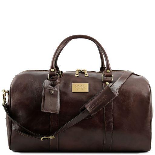 TL Voyager Reisetasche aus Leder mit Fach auf der Rückseite - Gross Dunkelbraun TL141247