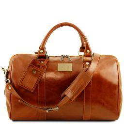 TL Voyager Reisetasche aus Leder mit Fach auf der Rückseite - Klein Honig TL141250