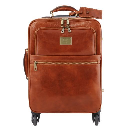 TL Voyager 4 Wheels vertical leather trolley Honey TL141911