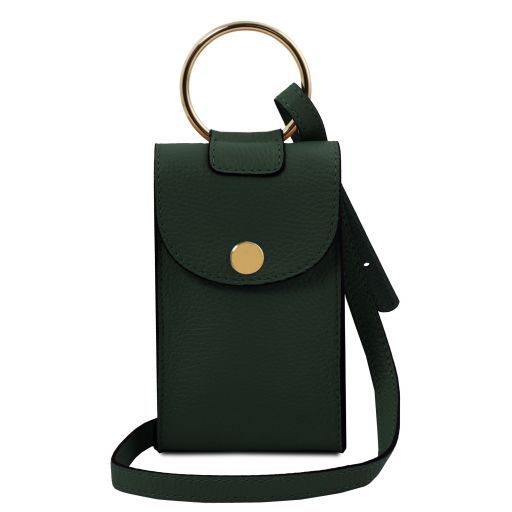 TL Bag Leather cellphone holder mini cross bag Forest Green TL141865