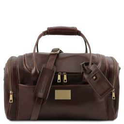TL Voyager Travel leather bag with side pockets - Small size Dark Brown TL141441