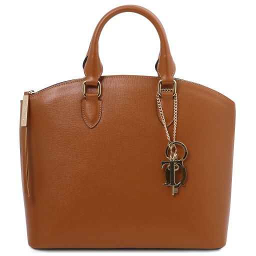 TL KeyLuck Bolso shopping en piel Saffiano Cognac TL141261