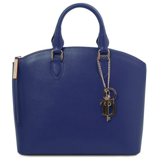 TL KeyLuck Borsa shopping in pelle Saffiano Blu TL141261