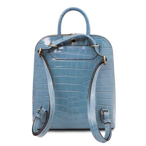 TL Bag Croc print leather backpack for women Голубой TL141969