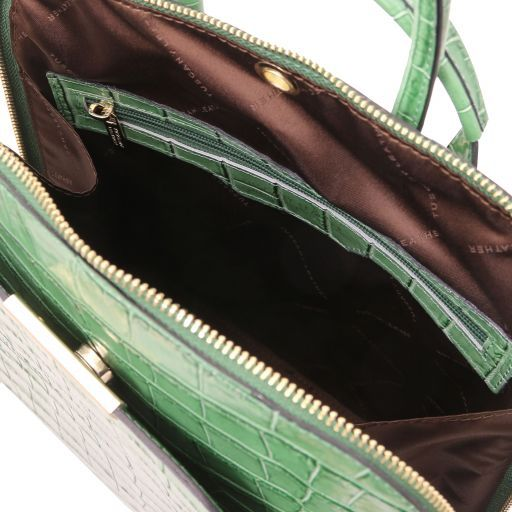TL Bag Sac à dos pour femme en cuir effet croco Vert TL141969