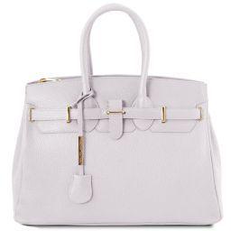 TL Bag Leather handbag with golden hardware White TL141529