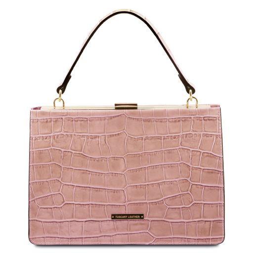 Iris Croc print leather handbag Nude TL141839