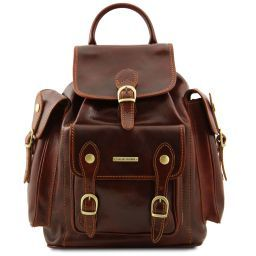 Pechino Leather Backpack Brown TL9052