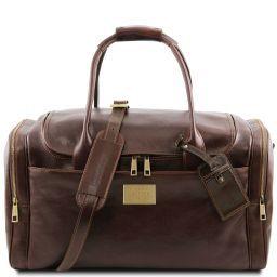 TL Voyager Reisetasche aus Leder mit 2 Reissverschluss - Seitentaschen Dunkelbraun TL141296
