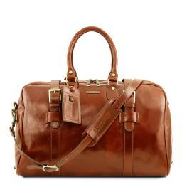 TL Voyager Leather travel bag with front straps - Small size Honey TL141249