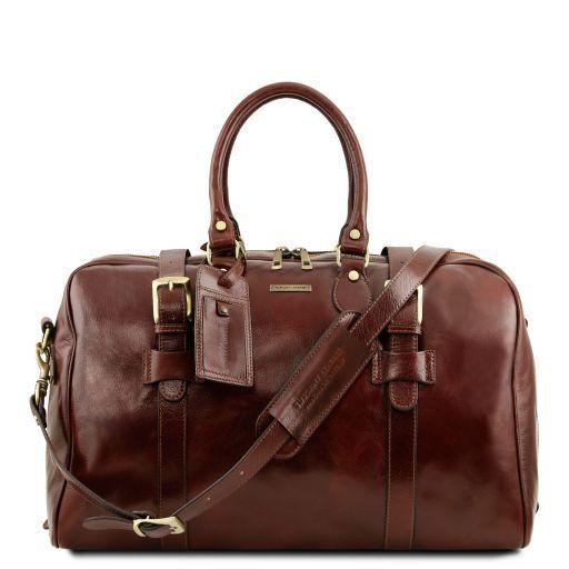 TL Voyager Reisetasche aus Leder mit Schnallen - Klein Braun TL141249