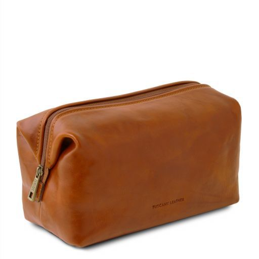 Smarty Leather toilet bag - Large size Honey TL141219