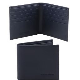 Exclusive 2 fold Saffiano leather wallet for men Dark Blue TL141437