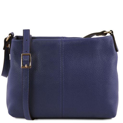 TL Bag Bolso con badolera en piel suave Azul oscuro TL141720