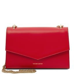 Fortuna Leather clutch with chain strap Lipstick Red TL141944